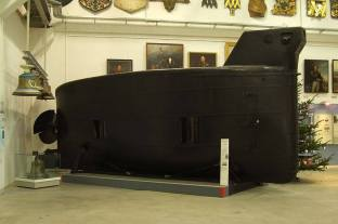 On display is the original Brandtaucher, Germany's first submarine.